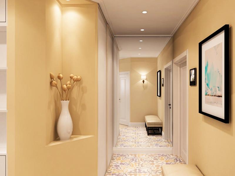 Повесьте точечные светильники по всему потолку, а в конце коридора, если он упирается в стену, используйте обычный настенный светильник. При таком освещении возникает эффект удлинения коридора