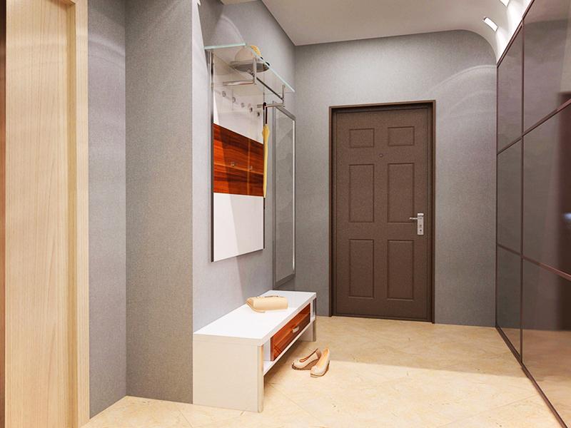 Простые серые стены и функциональная вешалка на входе – лучшее решение для маленького коридора