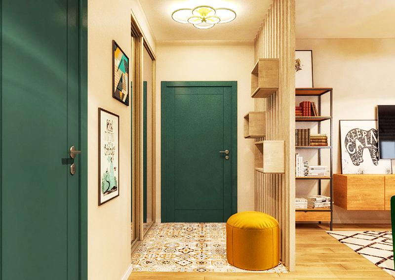 Поставьте яркий пуф в зоне переобувания или выкрасите двери с внутренней стороны в насыщенный зелёный или любой другой цвет