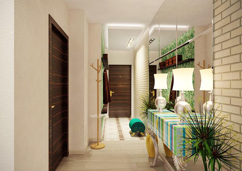 Если в прихожей стоит небольшой комод или другая малогабаритная мебель, отделайте верхнюю часть стены несколькими зеркалами. В сочетании с мебелью, расположенной только на одной стороне, такой ход позволит существенно расширить пространство визуально и сделать его более удобным и функциональным