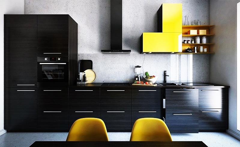 Экстравагантный и стильный вариант – сочетание жёлтого и чёрного цвета. Ваша задача ─ подобрать максимально подходящие детали интерьера так, чтобы жёлтые вещи лишь дополняли чёрный гарнитур, не перебивая его. Жёлтый цвет хорошо вписывается в интерьер в стиле модерн