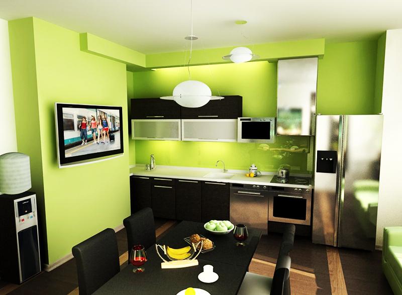 Более традиционный и спокойный вариант оформления – сочетание зелёного с чёрным. Используйте обычный кухонный гарнитур, а стены выкрасите матовой зелёной краской
