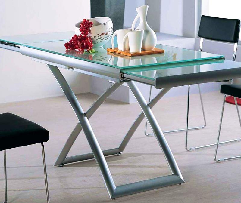 Стеклянный кухонный стол раздвижной