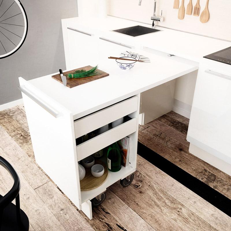 Стол-трансформер, вмонтированный в кухонный гарнитур