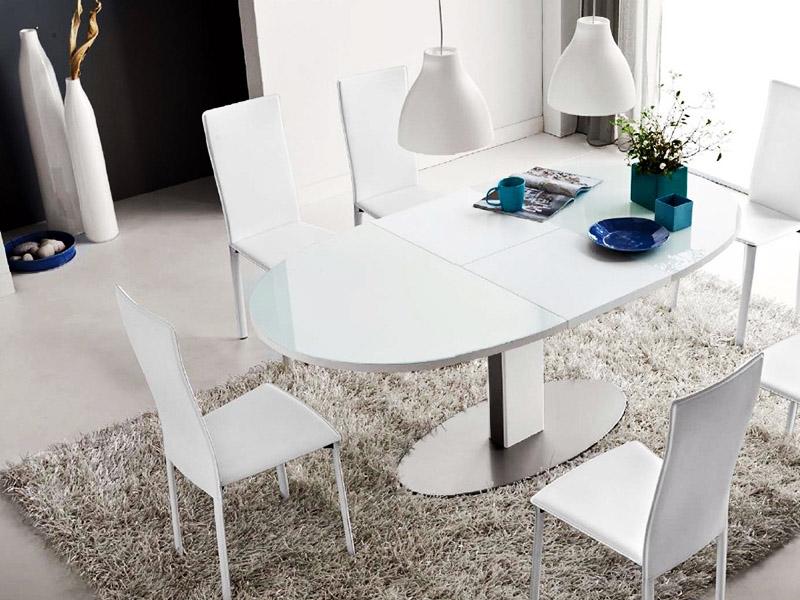 Овальный кухонный раздвижной стол