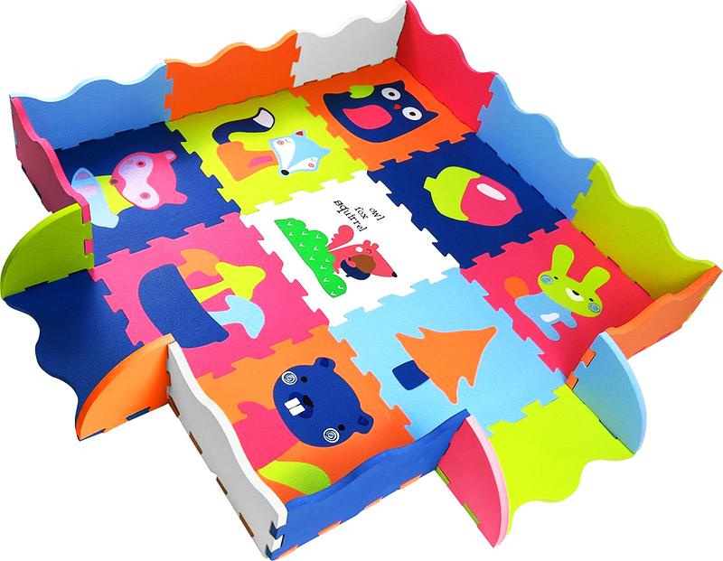 Коврик из мягких ПВХ-пазлов. Складывается в плоскую форму, кубик, домик, лабиринт и любой другой вариант, доступный по количеству элементов. Подходит для детей старше года