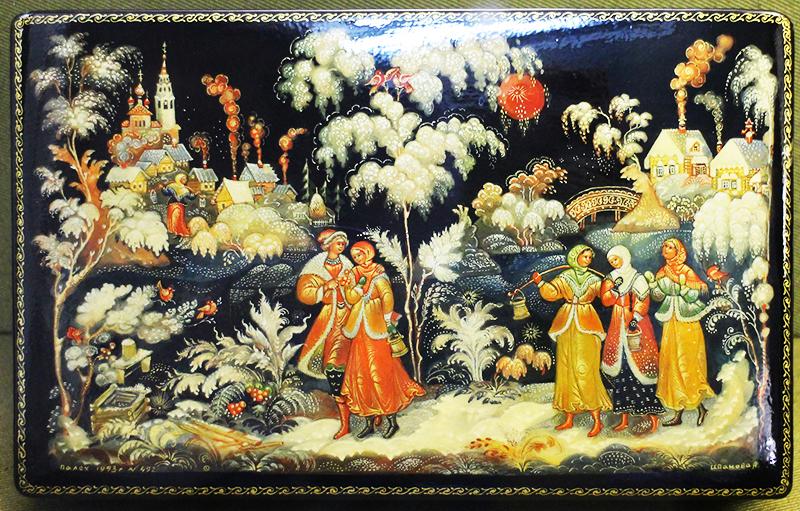 Для палеха характерен сюжет русских народных сказок, изображённых обязательно на чёрном фоне