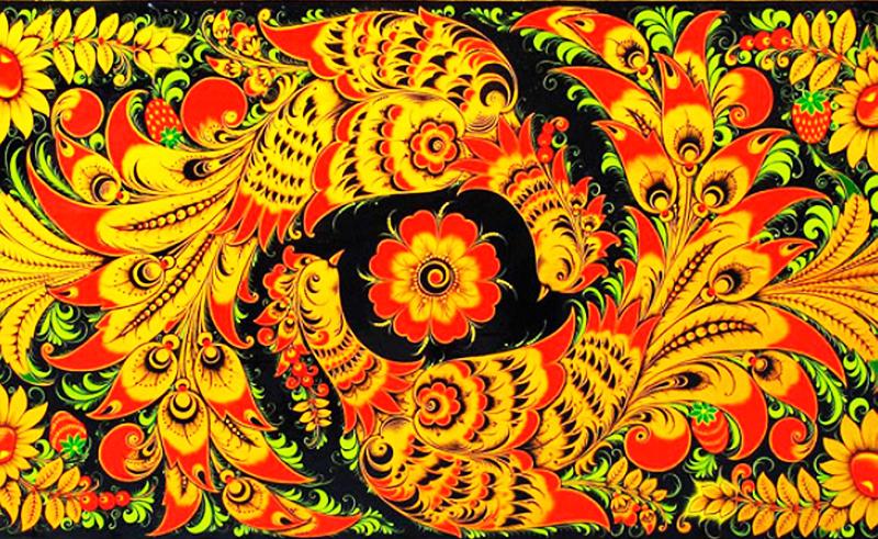Фон рисуют чёрным или жёлтым, а уже на нём изображаются цветочные орнаменты