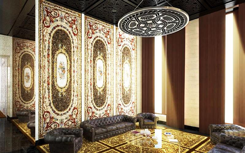В холле организована зона отдыха с диванами и креслами, между которыми поставили невесомый прозрачный столик из стекла