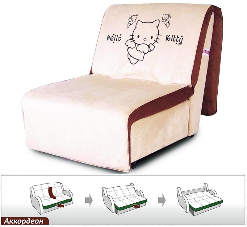 Кресло-кровать с механизмом аккордеон может быть установлено вплотную к стене
