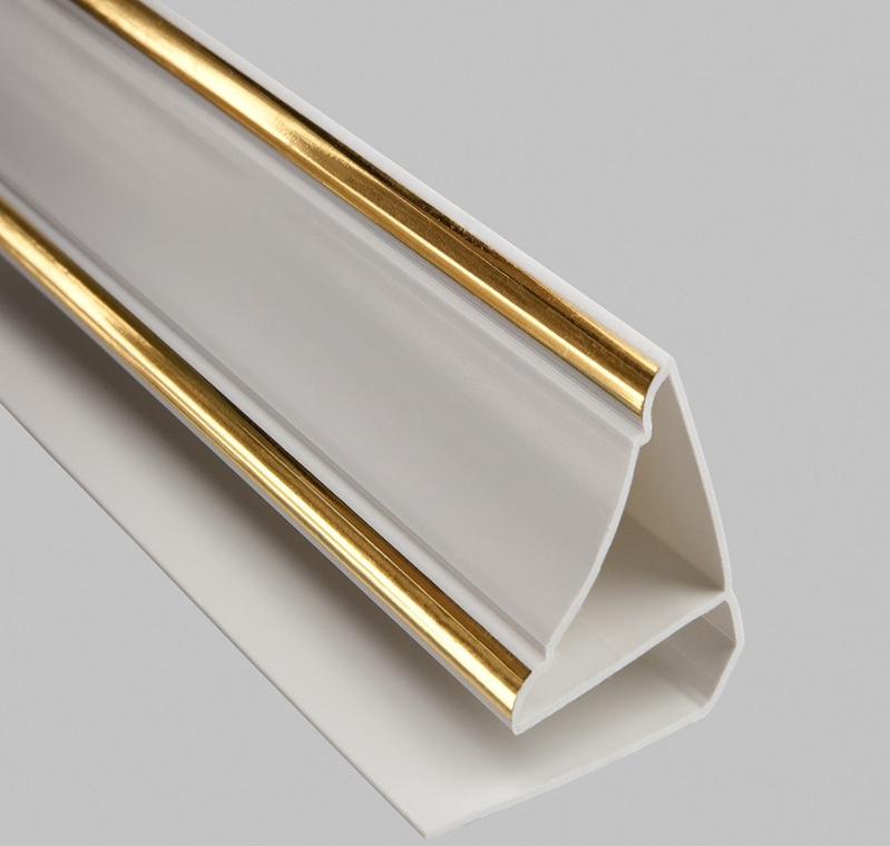 ПВХ-галтели имеют особые формы профиля и часто используются для финишной отделки натяжных потолков