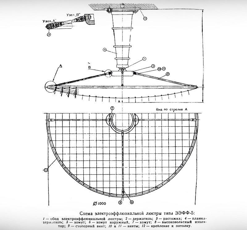 Принципиальная конструкция люстры Чижевского