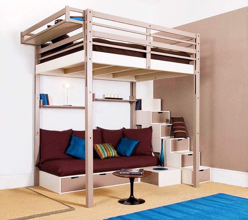 Существует много разновидностей кроватей-чердаков с диваном внизу