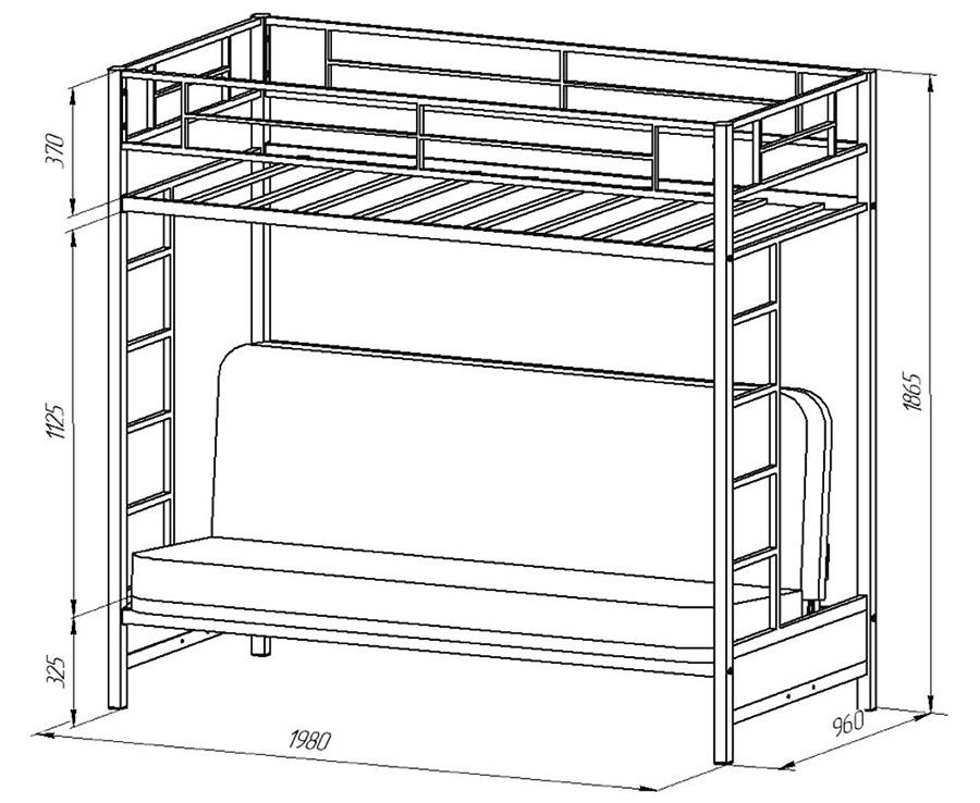 Распространённые размеры кровати-чердака с диваном
