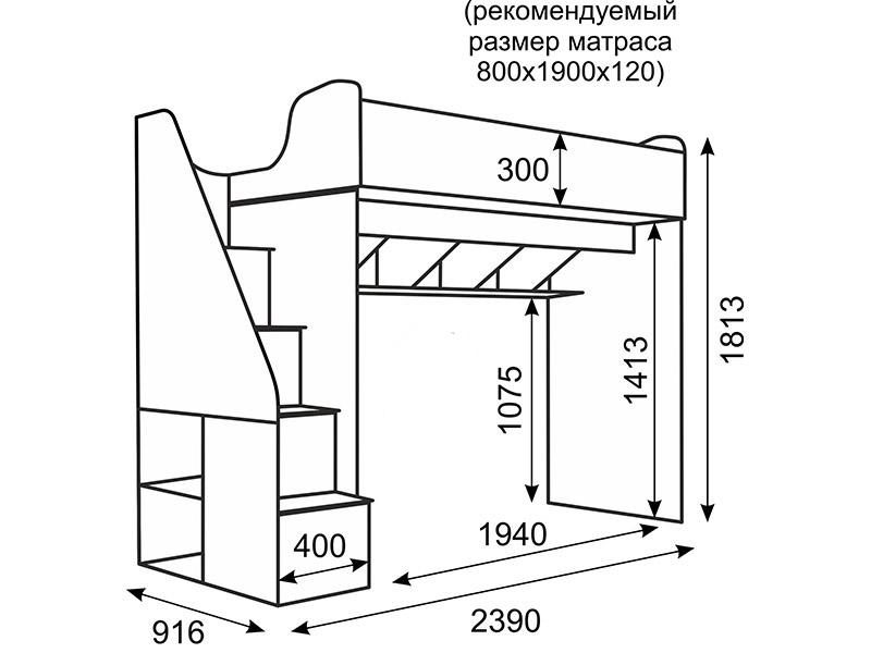 Размеры кровати-чердака для подростков