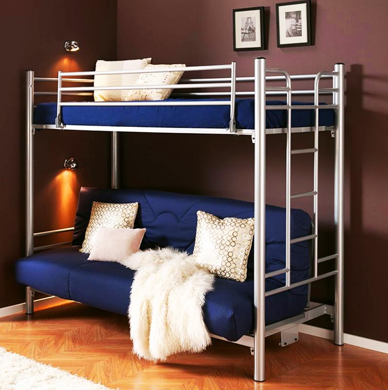 Железная кровать-чердак с диваном