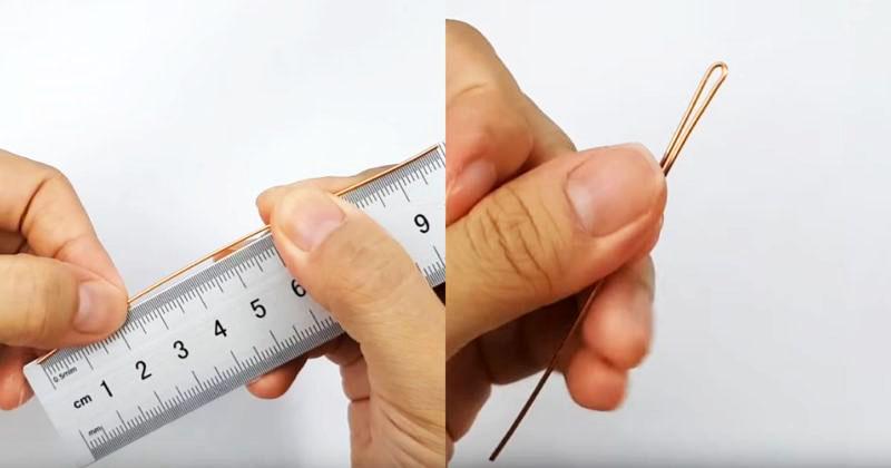 С помощью обычной линейки отмеряем размер нашей булавки, не забывая, что «ушко» нужно будет загнуть