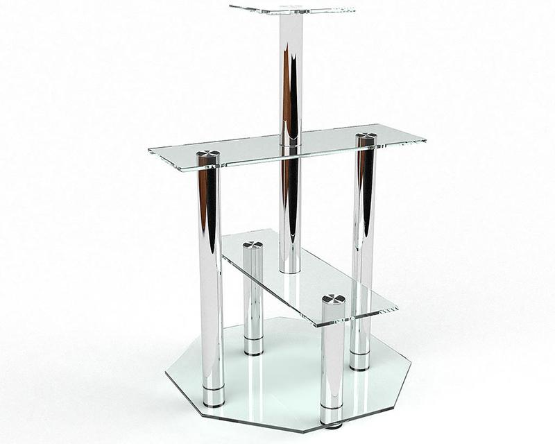 В комбинации со стеклом в качестве опор обычно применяют нержавеющую сталь
