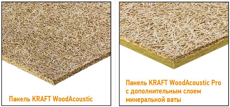 Структура обычной и улучшенной акустической панели KRAFT WoodAcoustic