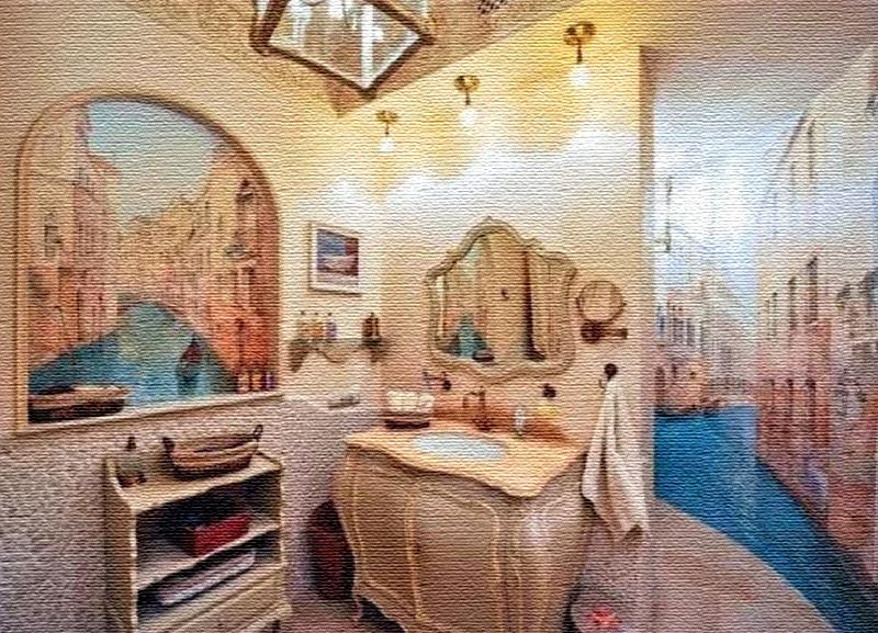 Роскошные фрески в ванной комнате выглядят очень реалистично