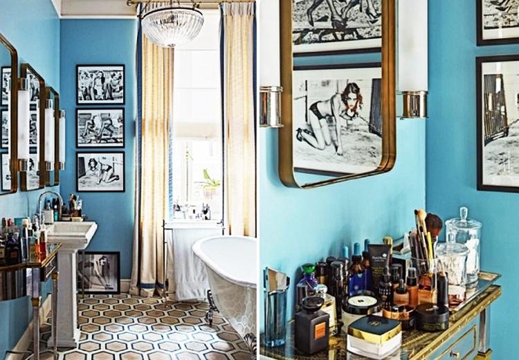 Стены ванной комнаты украшают чёрно-белые фотопортреты