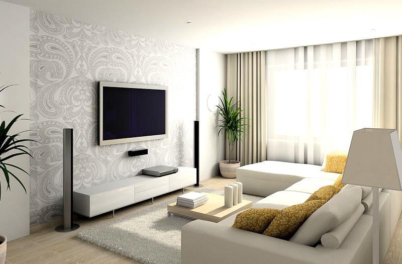 В этом помещении ярким и контрастирующим элементом стал телевизор