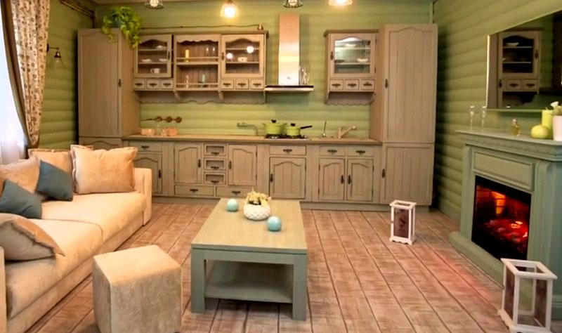 К оливковому цвету идеально подходит мебель серо-бежевого оттенка