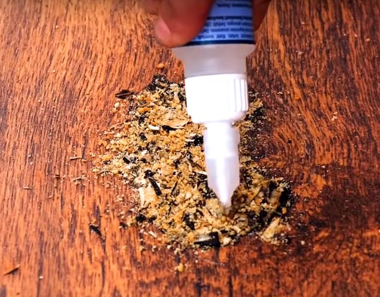 Поверх измельчённого семени снова нанесите клей и оставьте в таком виде до полного застывания