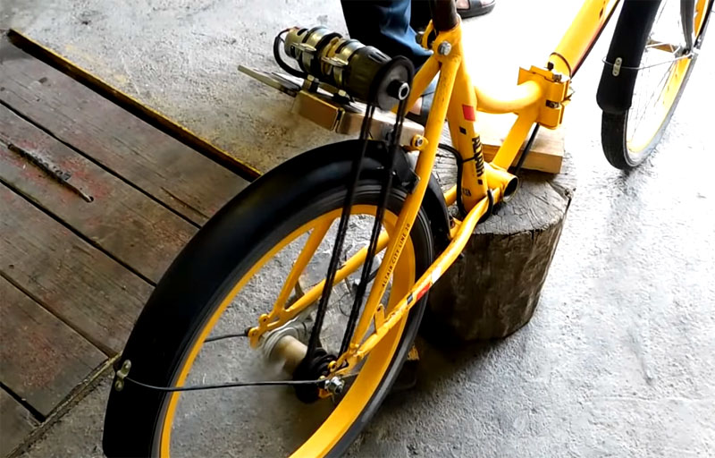Велосипед на электроприводе из старого шуруповёрта работоспособен, можно прокатиться