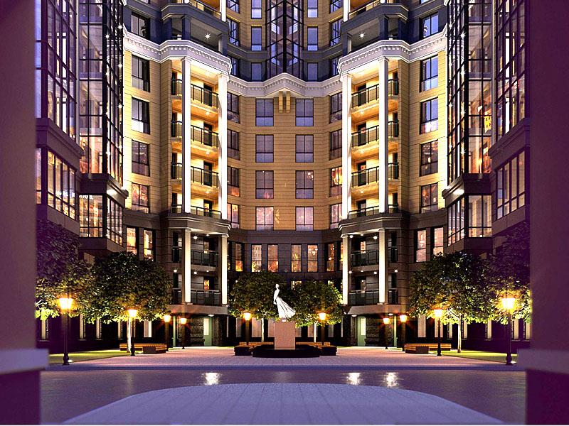 Комплекс состоит из 8-этажного бизнес-центра, который поддерживают три асимметричных жилых здания с внутренним двориком