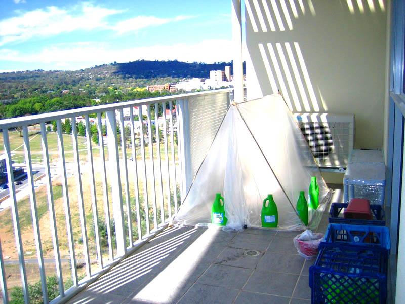 Заранее подберите место на балконе так, чтобы вы могли уместить теплицу и спокойно передвигаться, поливая растения. Если его мало, поднимите конструкцию выше, сделайте многоярусные парники