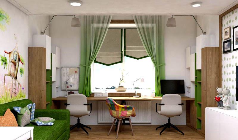 Длинный стол вдоль окна