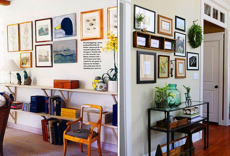 Расположите картины над небольшим столиком у стены – так вы сможете создать не только красивую, но и функциональную зону в дачном доме