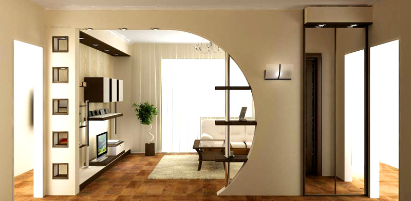 Постарайтесь избавиться от гипсокартона и странных полок в стене между кухней и гостиной
