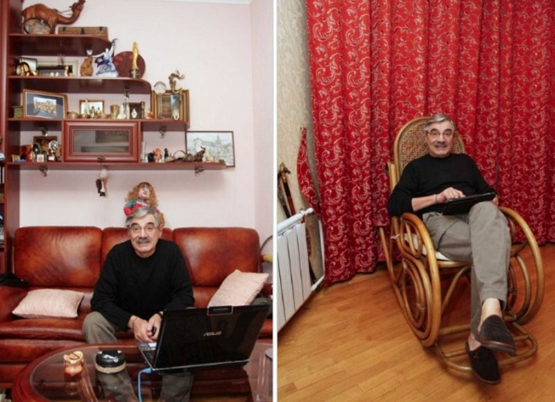 Любимое место в кабинете – старинное кресло-качалка из массива