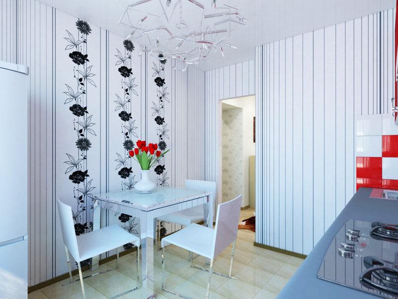 Полотно с вертикальным рисунком визуально увеличивает высоту помещения