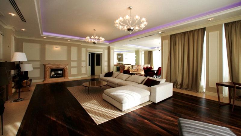 Вторая гостиная оформлена в современном стиле