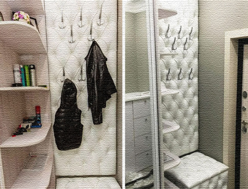 На стеновой панели закреплены крючки для одежды на разной высоте для каждого члена семьи