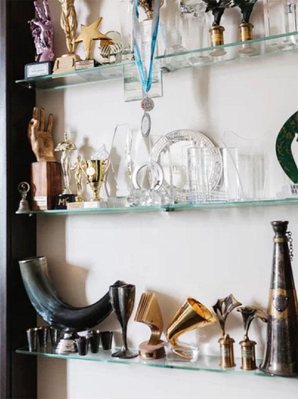 Награды певца заняли достойное место в нише гостиной