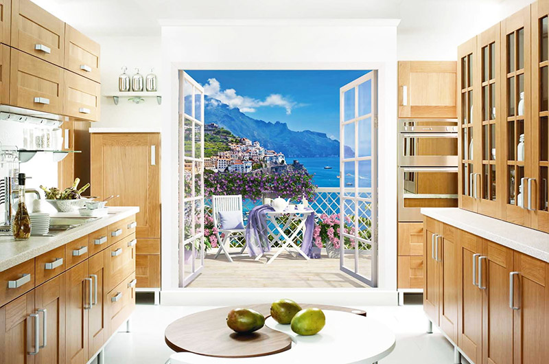 Фотообои на кухне – смотрится довольно реалистично