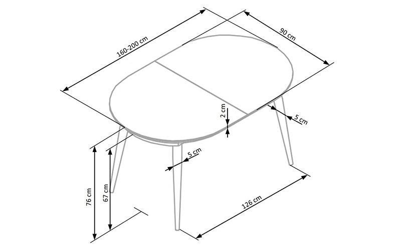 Параметры обеденного стола с овальной столешницей