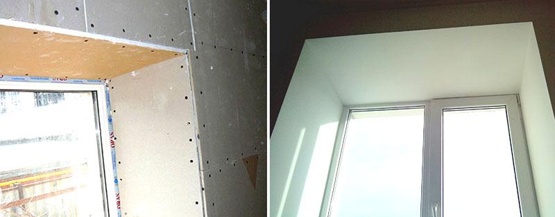 Гипсокартон в основном используют для отделки внутренних откосов окон
