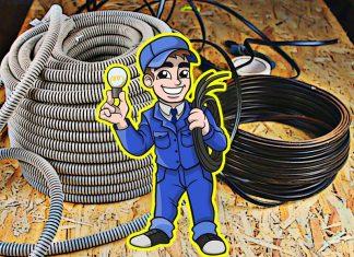 Прокладка кабеля в гофрошланге