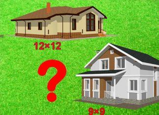 Площадь одинаковая, а цена разная: одноэтажный дом 12×12 и двухэтажный 9×9