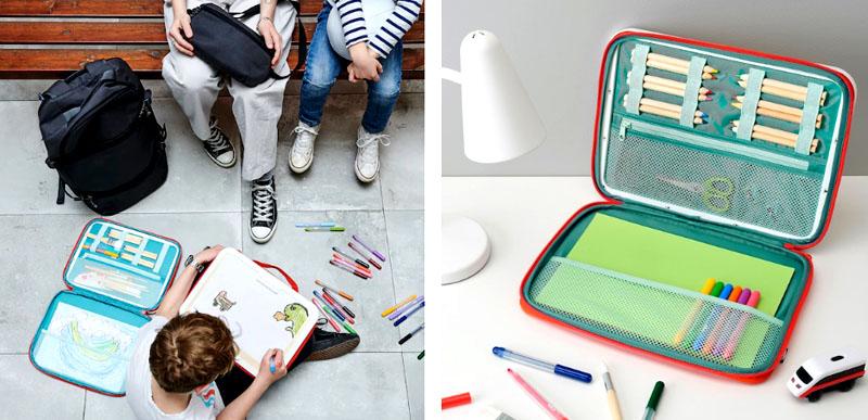 В сумке есть большие отделения для бумаги формата А4 и кисточек, фиксаторы для карандашей и карман на молнии для различных мелочей