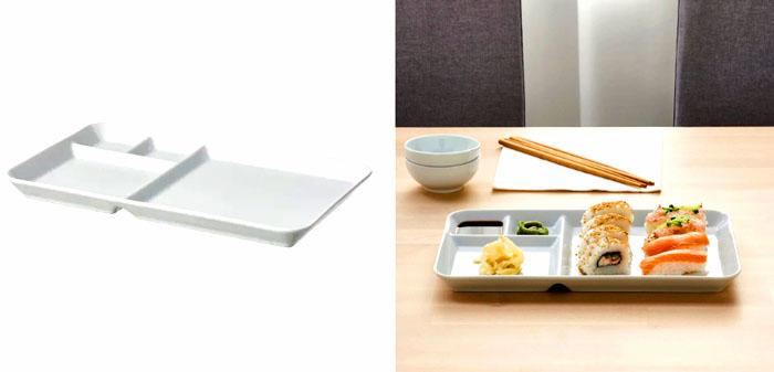 В тарелке можно разместить закуски и соусы эстетично и удобно