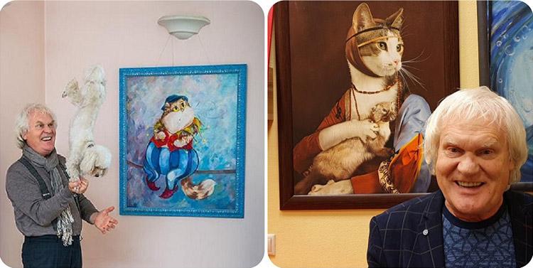 Стены дома украшают картины с изображением кошек, которые нарисовала дочь Юрия Куклачёва