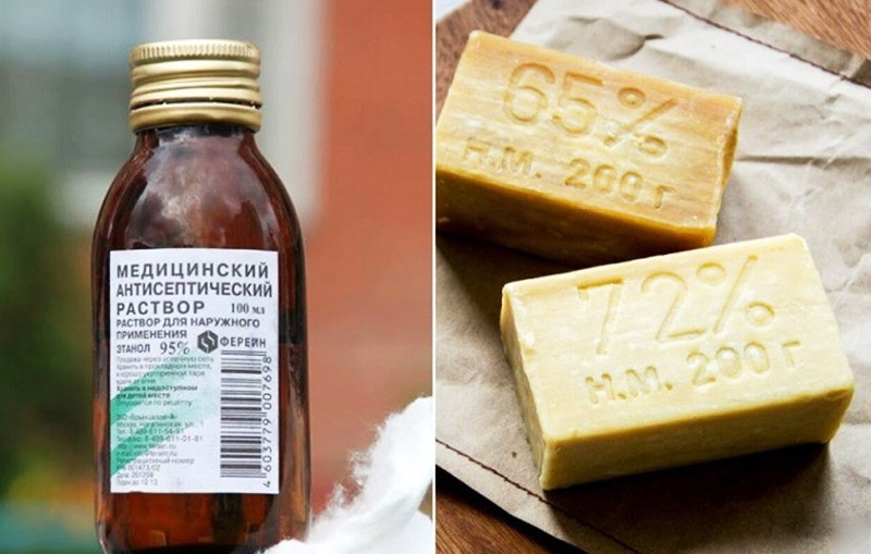 Чтобы приготовить такой состав, потребуется обычное хозяйственное мыло на основе животного жира и спирт
