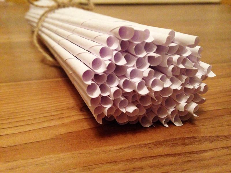 Некоторые заготавливают трубочки из бумаги дома, заранее готовясь к пикнику