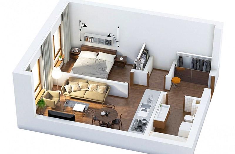 Лёгкими перегородками или мебелью её можно разделить на функциональные зоны. И чем больше окон на разных сторонах, тем больше вариантов для планировки